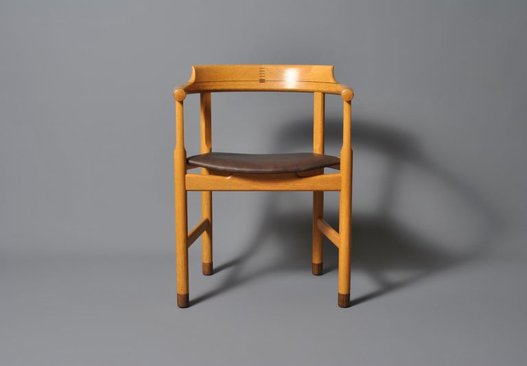 Incredible original Hans J Wegner PP52 chairs. Constructed from European oak with Wenge visible exposed joints and feet. Absolutely superb craftsmanship from PP Mobler, circa 1975. These are highly unusual designs with great attention to detail - as