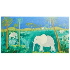 Original Hans Scherfig Painting of White Elephants in the Jungle, Denmark, 1947
