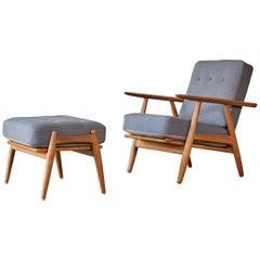 Original Hans Wegner GE-240 Cigar Chair and Ottoman, Denmark, 1960s