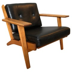 Original 1950's Hans J Wegner Lounge Chairs, ge290, Fully Reupholstered