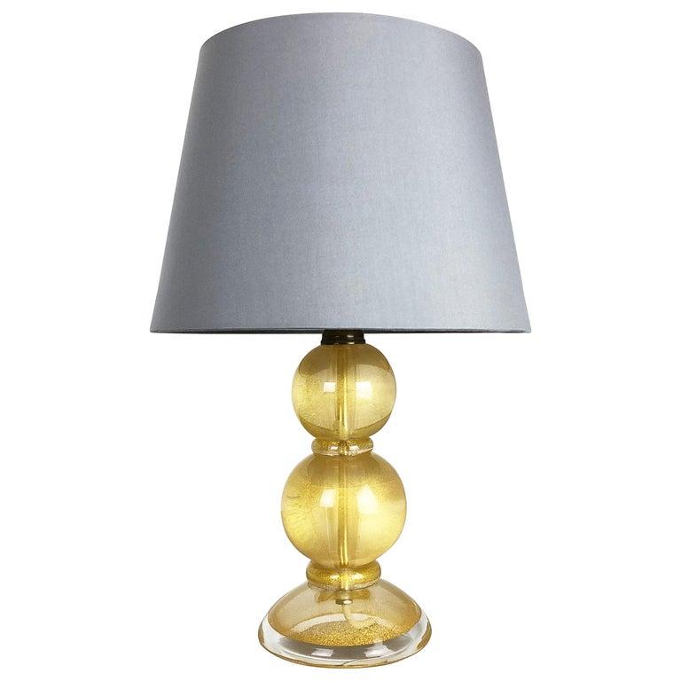 "Original Heavy Murano Glass ""Gold Dust"" Table Light by Cenedese Vetri, 1960s"
