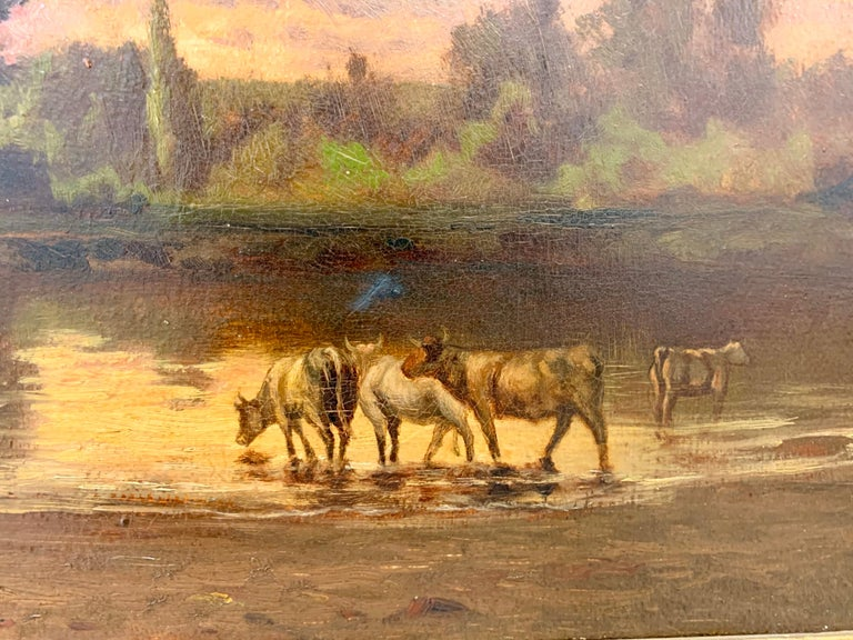 Luxembourgish Original Hector Charles Auguste Octave Constance Hanoteau Oil Pastoral Painting For Sale