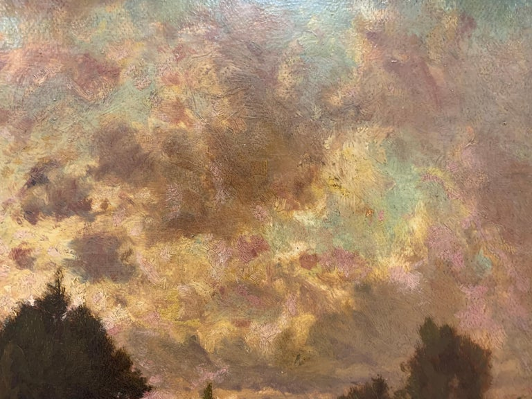 Original Hector Charles Auguste Octave Constance Hanoteau Oil Pastoral Painting In Good Condition For Sale In West Hartford, CT
