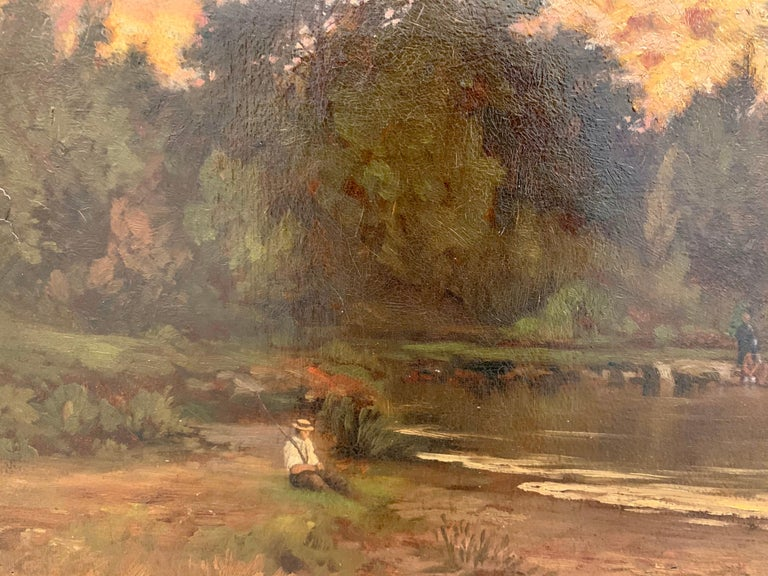 19th Century Original Hector Charles Auguste Octave Constance Hanoteau Oil Pastoral Painting For Sale