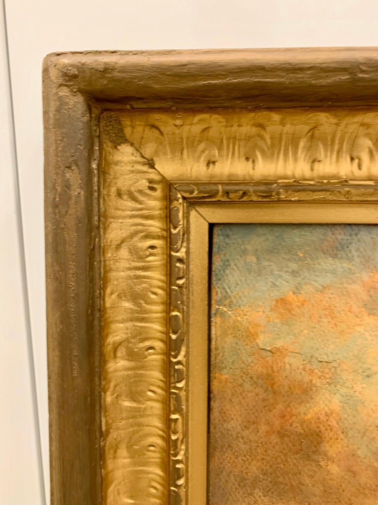 Giltwood Original Hector Charles Auguste Octave Constance Hanoteau Oil Pastoral Painting For Sale