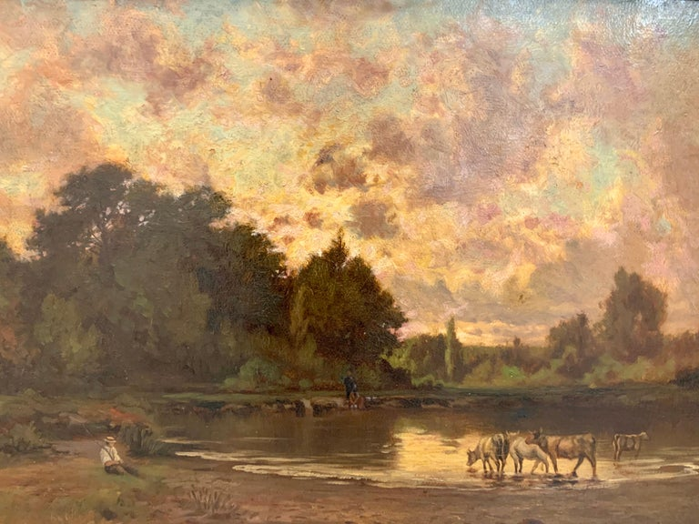 Original Hector Charles Auguste Octave Constance Hanoteau Oil Pastoral Painting For Sale 1