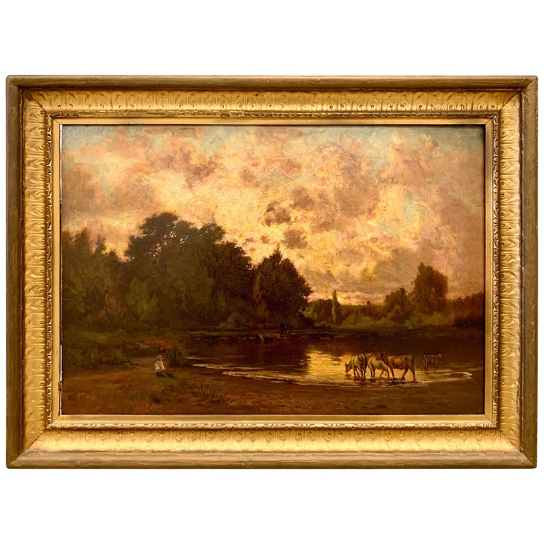 Original Hector Charles Auguste Octave Constance Hanoteau Oil Pastoral Painting For Sale