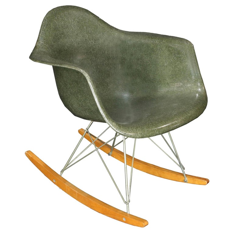 Original Herman Miller Eames RAR Rocking Chair in Olive Green For Sale