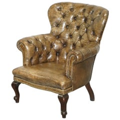 Original Hide Regency Chesterfield Brown Leather Library Reading Armchair