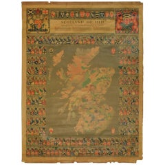 Original Historical Cloth Clan Map of Medieval Scotland of Old