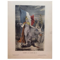 Original Historical French WWI Engraving Print depicting Glory to the Canon