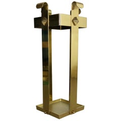 Original Hollywood Regency Solid Brass Umbrella Stand, Italy, 1970s No. 2