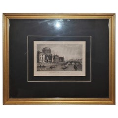 Original Irish Engraving of Four Courts of Law Dublin 1840 by WH Bartlett