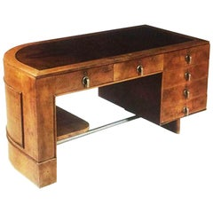 Original Italian Art Deco Desk in Walnut and Briar Root, 1930s
