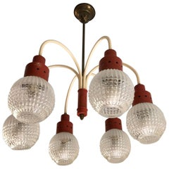 Original Italian Chandelier from 1970s with Six Lights, Orange and Cream Color