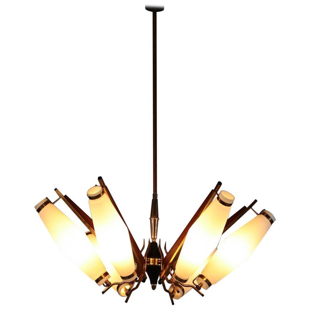 Original Italian Chandelier Stilnovo Arredoluce Opaline Glass Wood 1960 Ceiling