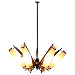Original Italian Chandelier Stilnovo Arredoluce Opaline Glass Wood 1960 Ceiling