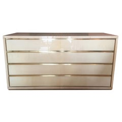 Original Italian Chest of Drawers in Brass and Parchment Designed by Aldo Tura