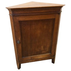 Original Italian Corner Cupboard from 1930 in Oak with Honey-Colored Inlays