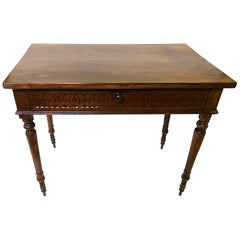 Original Italian Desk Table in Walnut with Perimeter Carvings from 1880