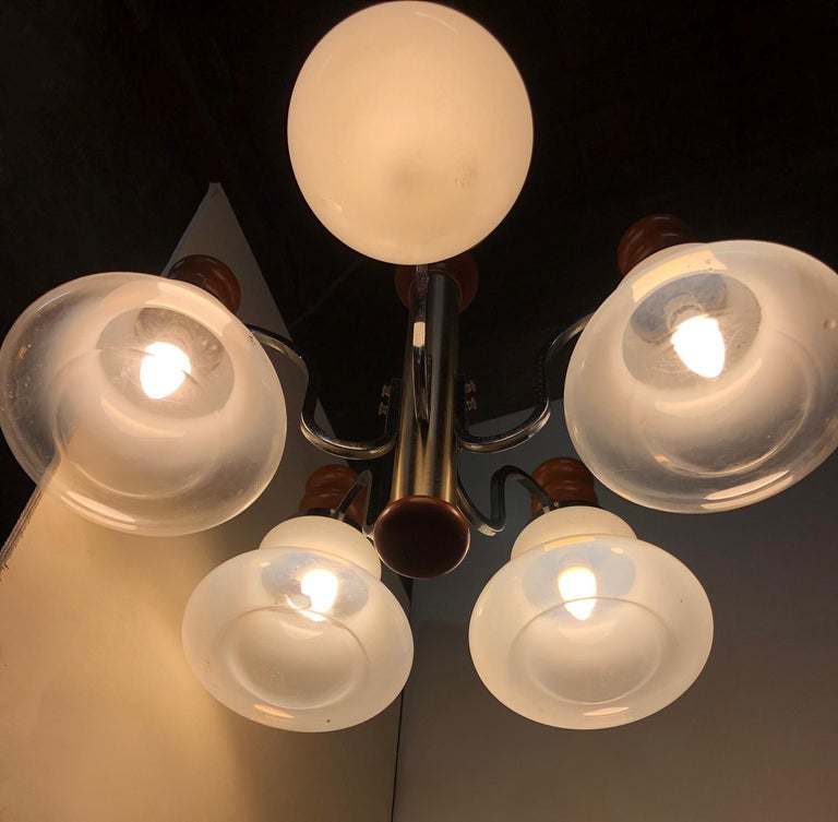 Mid-Century Modern Original Italian Five-Light Chandelier from 1970 Chrome, Wood and Glass For Sale