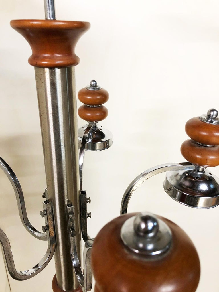 Original Italian Five-Light Chandelier from 1970 Chrome, Wood and Glass For Sale 1