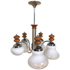 Original Italian Five-Light Chandelier from 1970 Chrome, Wood and Glass