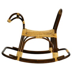 Original Italian Rocking Horse Made of Bamboo and Rattan