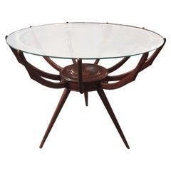 Original Italian Spyder Table in Walnut Designed by Carlo de Carli, 1950s