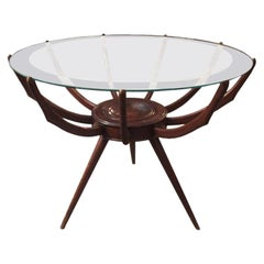 Original Italian Spyder Table in Walnut Designed by Carlo de Carli, 1950s