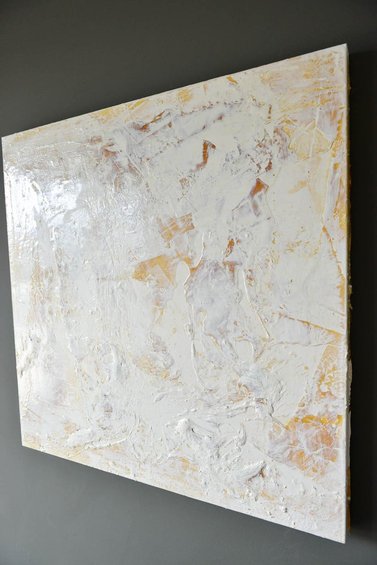 Mid-Century Modern Original Ivory/Cream Abstract Acrylic on Canvas by Brandon Charles Weber For Sale