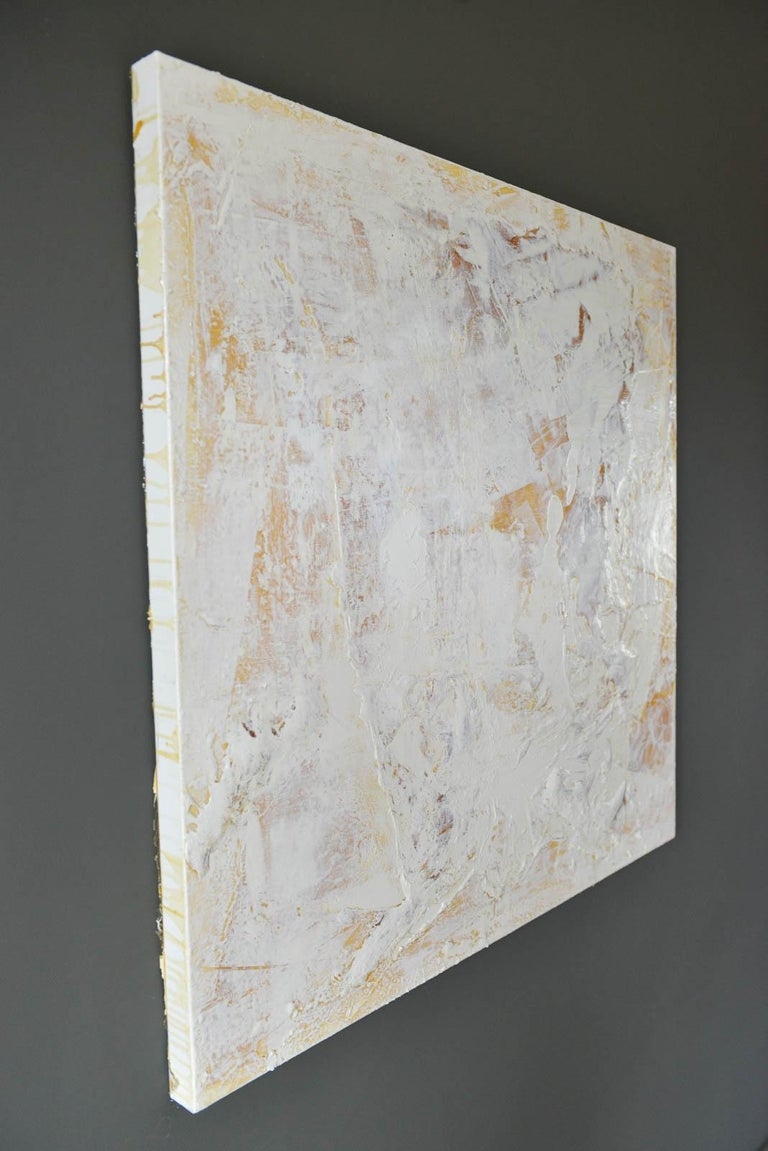 American Original Ivory/Cream Abstract Acrylic on Canvas by Brandon Charles Weber For Sale