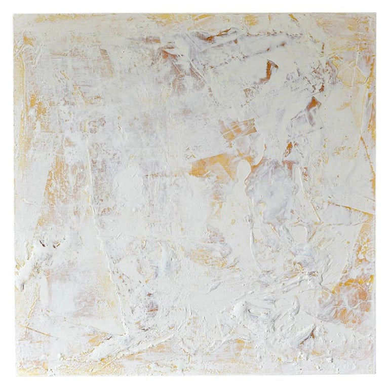 Original Ivory/Cream Abstract Acrylic on Canvas by Brandon Charles Weber For Sale