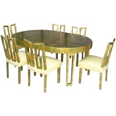 Original James Mont Camouflage Gold Leaf Dining Room Set of Six Chairs and Table