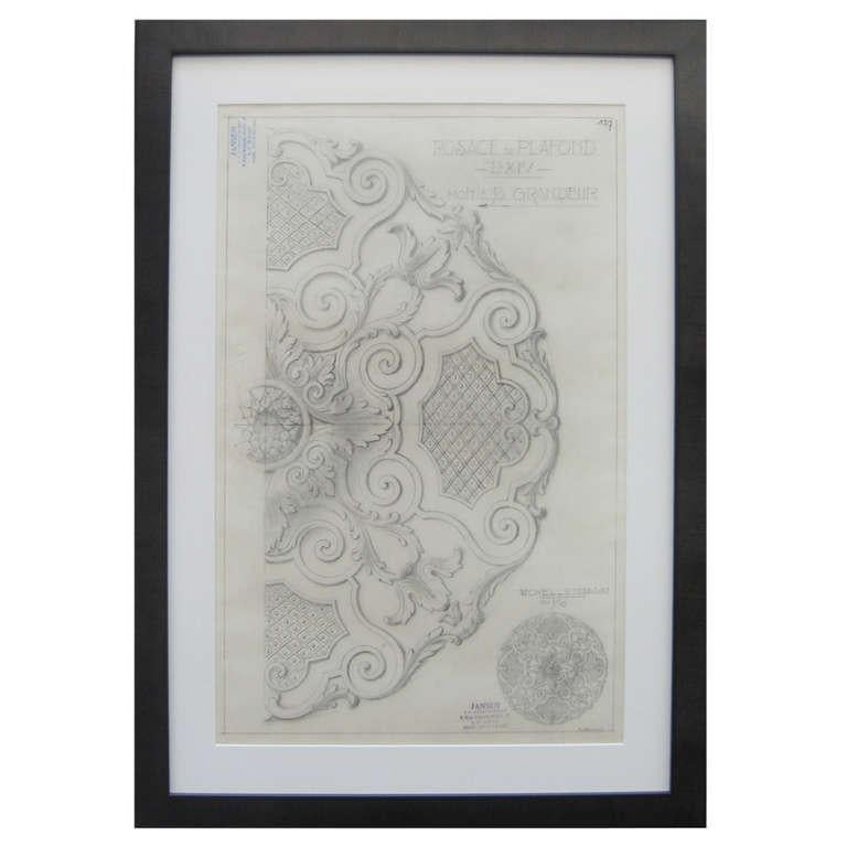 Original Jansen Architectural Pencil Drawing In Excellent Condition For Sale In New York, NY