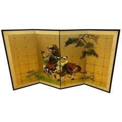 Original Japanese Hand Painted Four-Panel Screen Divider Signed Painting