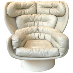 Original Joe Colombo Elda White Leather Armchair, 1960s