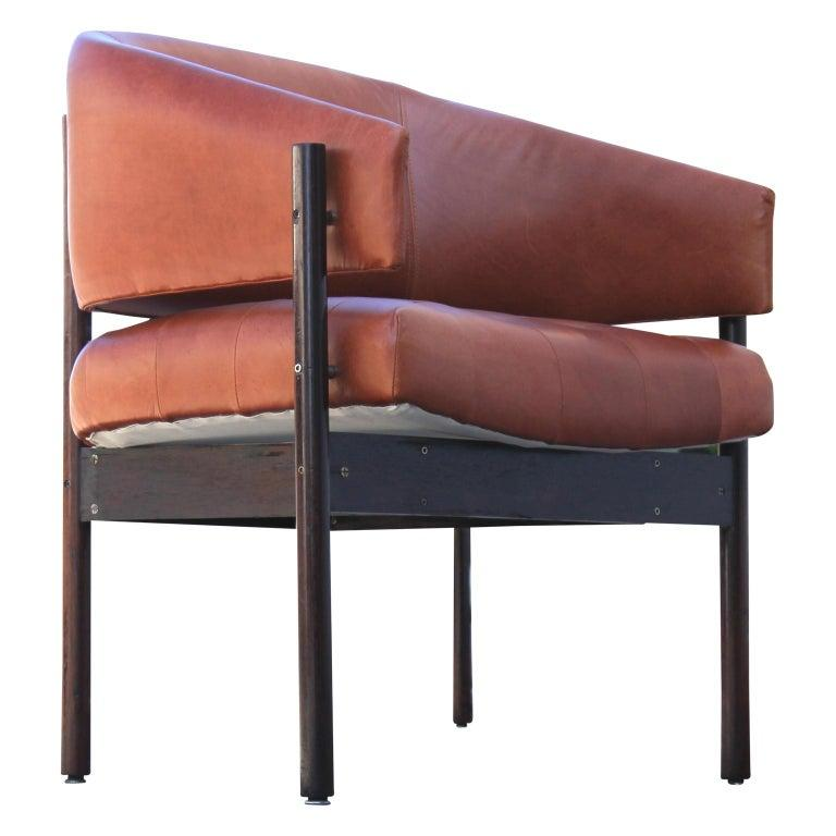 Brazilian Original Jorge Zalszupin Rosewood and Leather Armchairs (6 chairs) 1970s, Brazil For Sale