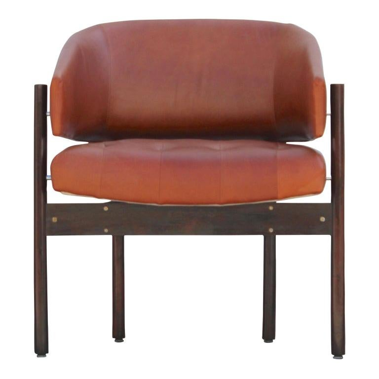 Original Jorge Zalszupin Rosewood and Leather Armchairs (6 chairs) 1970s, Brazil For Sale