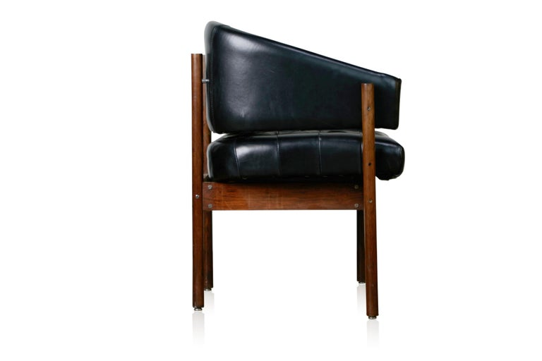 Brazilian Original Jorge Zalszupin Rosewood & Leather Armchairs, Produced in 1972, Brazil For Sale