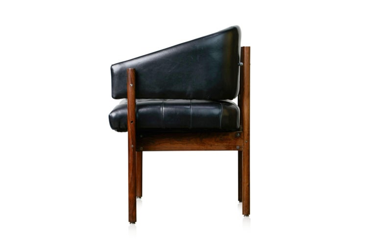 Jorge Zalszupin 'Senior' Rosewood & Leather Armchairs, Produced in 1972, Brazil For Sale 1