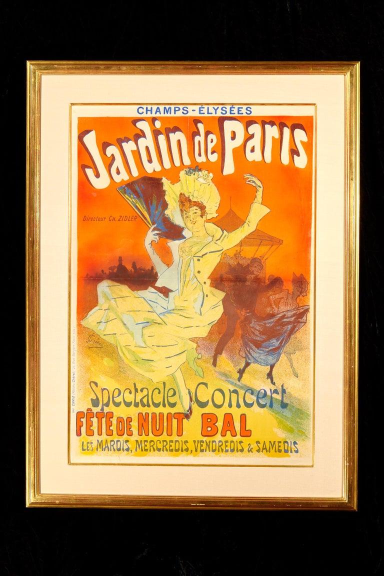 Jules Chéret (French, 1836-1932) Jardin de Paris - Fête de nuit bal, 1890 Lithograph in colors on paper (crease lines visible)  Sheet: 32.5 x 23.3 inches (82.2 x 58.7 cm)  Printed signature lower left Printed by Chaix, Paris   Framed dimensions 40.5
