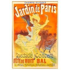 """Original Jules Cheret """"Jardins de Paris"""" Poster, 1890, Art Nouveau"""