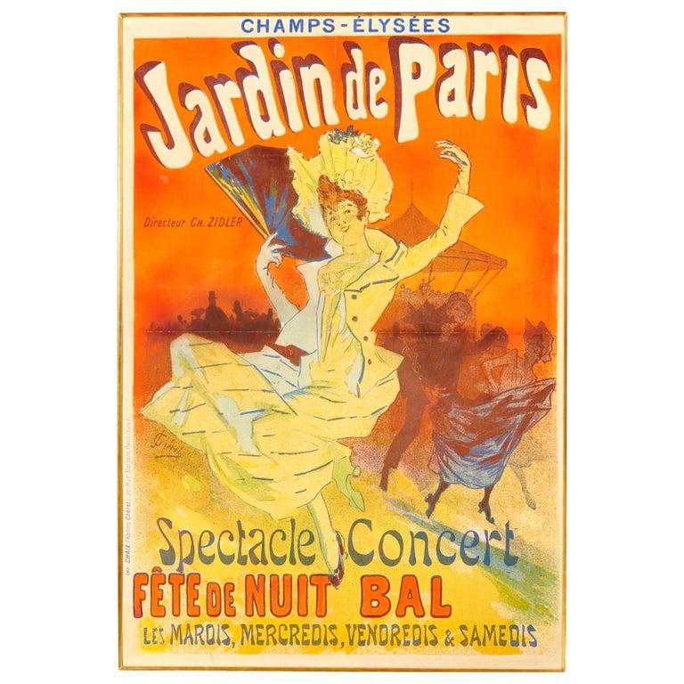 """Original Jules Cheret """"Jardins de Paris"""" Poster, 1890, Art Nouveau For Sale"""