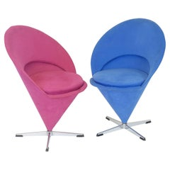Original K1 Cone Chairs Design Blue Red by Verner Panton, Denmark, 1950s