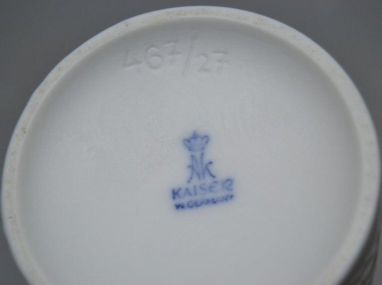Original Kaiser White Bisque Ceramic Flower Vase, Made in West-Germany, 1960s For Sale 3