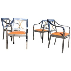 Original Karl Springer Chairs, Stainless Steel and Brass