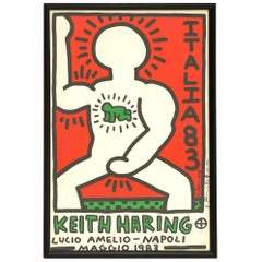 Original Keith Haring Signed Poster, Italia 1983, Framed