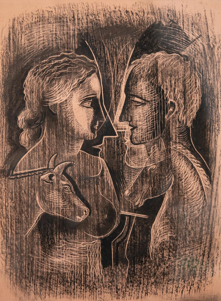Original Konrad Cramer Sgrafitto, circa 1935. Authentication by Aileen Cramer on verso. Konrad Cramer is often credited as being in important link between German and American modernism in art, and his experimentations with abstraction and