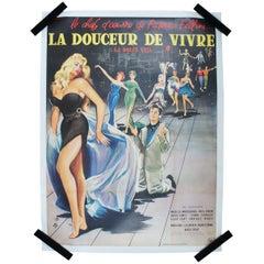 Original La Dolce Vita Unfolded French Film Movie Poster Thos & Fellini